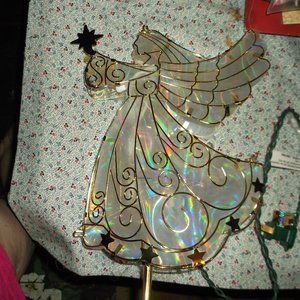 irridescent light up angle tree topper like new